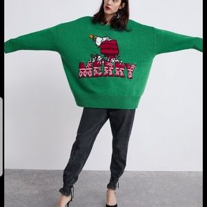 Zara Peanuts Oversized Christmas Sweater